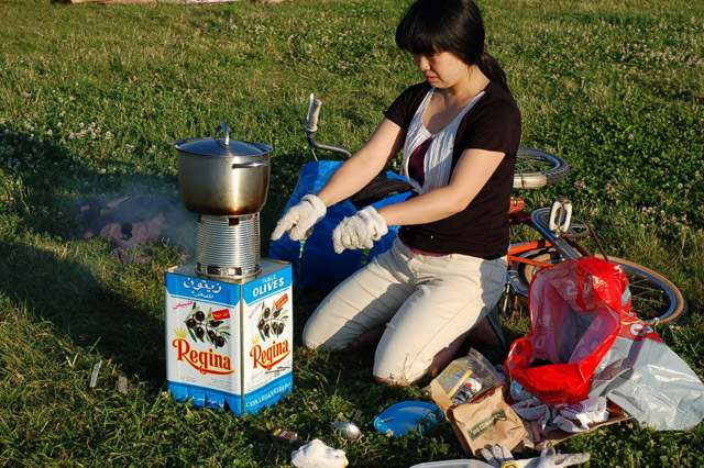 Kochen auf dem Mikrovergaser